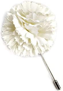 product image for Ivory Carnation Flower Lapel Boutonniere Pin - Men's Flower Lapel Pin - Silk Flower Artificial Flower with Stick Pin - Made in New York