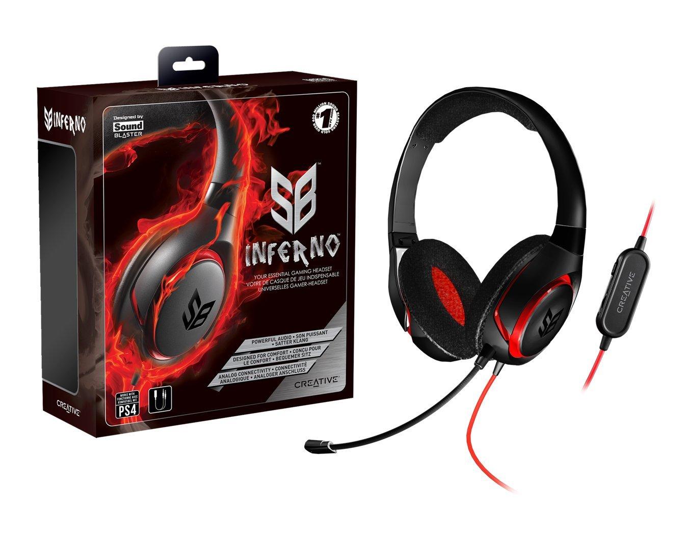 Creative SB Inferno - Auriculares de diadema cerrados con micrófono, negro: Amazon.es: Electrónica