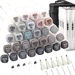 ADAXI 30 Colors Grayscale Markers Set, Alcohol Based Ink Neutral Gray Tones Art Supplies Dual Tip, Permanent Artist Markers Pen for Anime Portrait Illustration Sketching Drawing Coloring