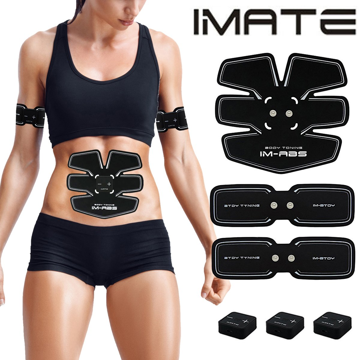 IMATE Abdominal Muscle Toner, Abdominal Toning Belt Smart Abdominal fitness equipment home office abdominal muscle Portable Fitness Training Gear USB Chargeable BODY GYM for Abdomen/Arm/Leg/Waist by IMATE