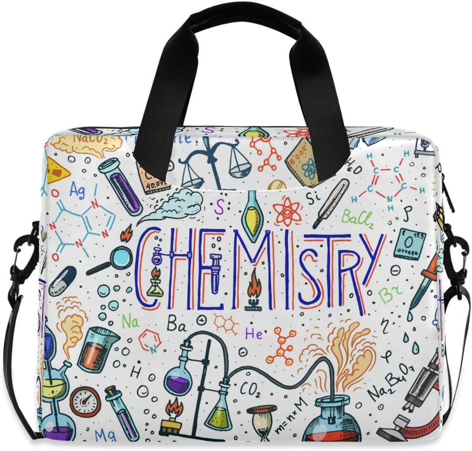 MAHU Laptop Case Bag Chemistry Science Pattern Laptop Sleeves Briefcase 13 14 15.6 inch Computer Messenger Bag with Handle Strap for Women Men Boys Girls
