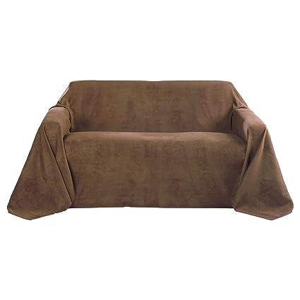 Beautissu Manta Romantica 210x280 cm en óptica de piel de ante como cobertor de sofá manta de día Plaid en marrón claro