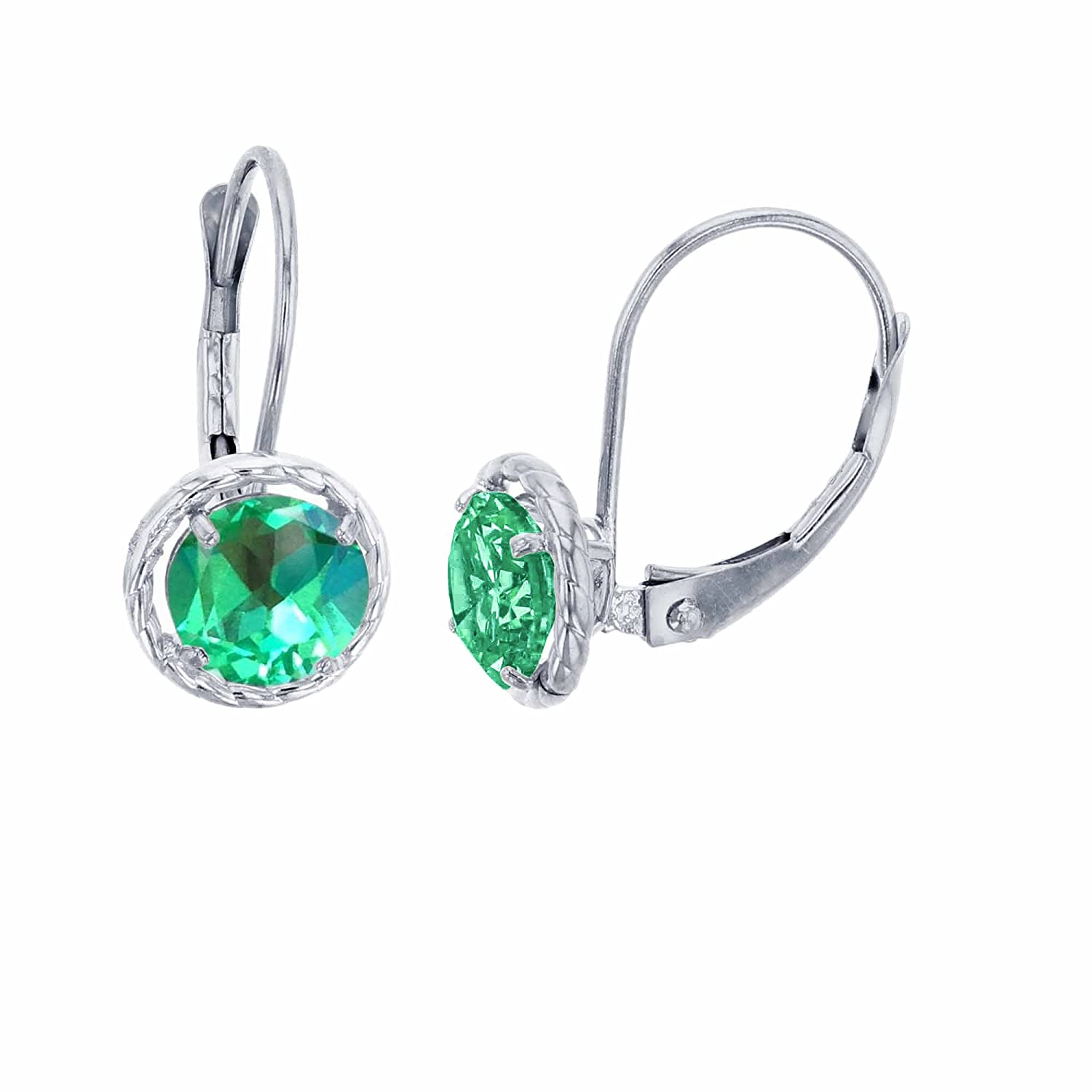 10K White Gold 6mm Round Created Green Sapphire Center Stone Rope Frame Leverback Earring