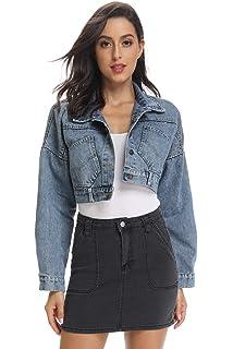 743faf2872e kefirlily Women's Premium Denim Jacket Long Sleeve Washed Crop Jean Coats