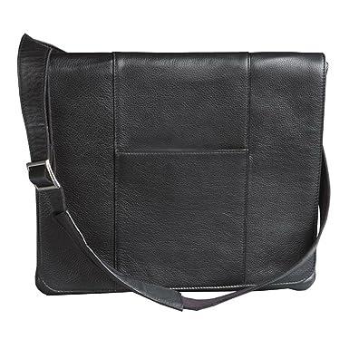 Amazon.com | Winn Harness Leather Slim Messenger Bag, Black ...