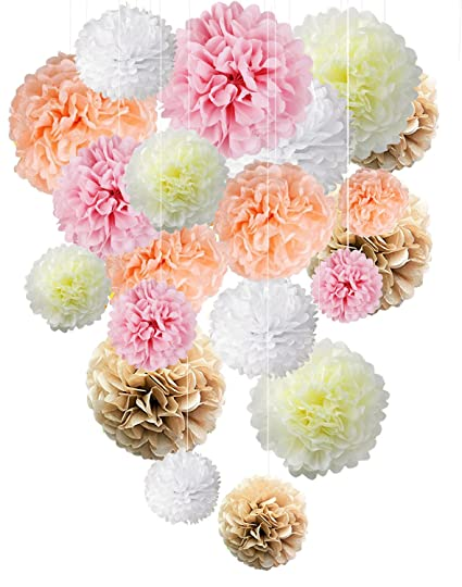 Paper Flowers Fluffy Tissue Paper Pom Poms Hanging Flower Ball For Baby Shower Decorations Wedding Decor Birthday Party Celebration 20 Pcs