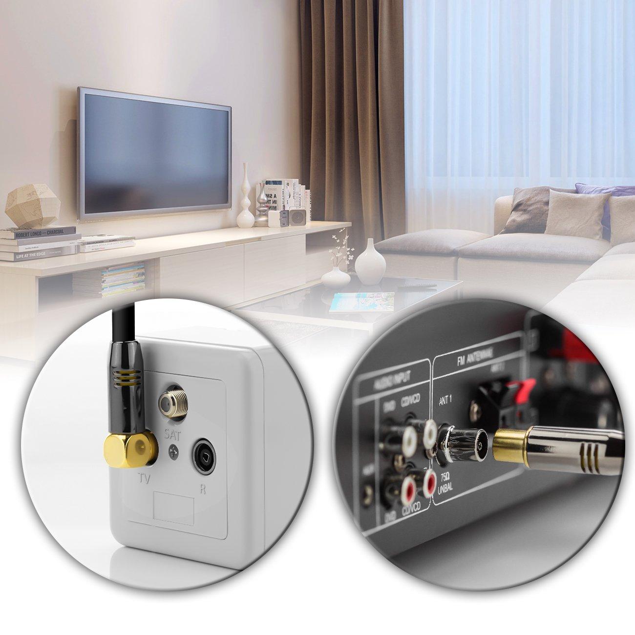 90/° Grad Wei/ß 1x gewinkelt - Metallstecker deleyCON 12,5m TV Antennenkabel HDTV Full HD gerade zu TV-Buchse Koaxialkabel TV-Stecker