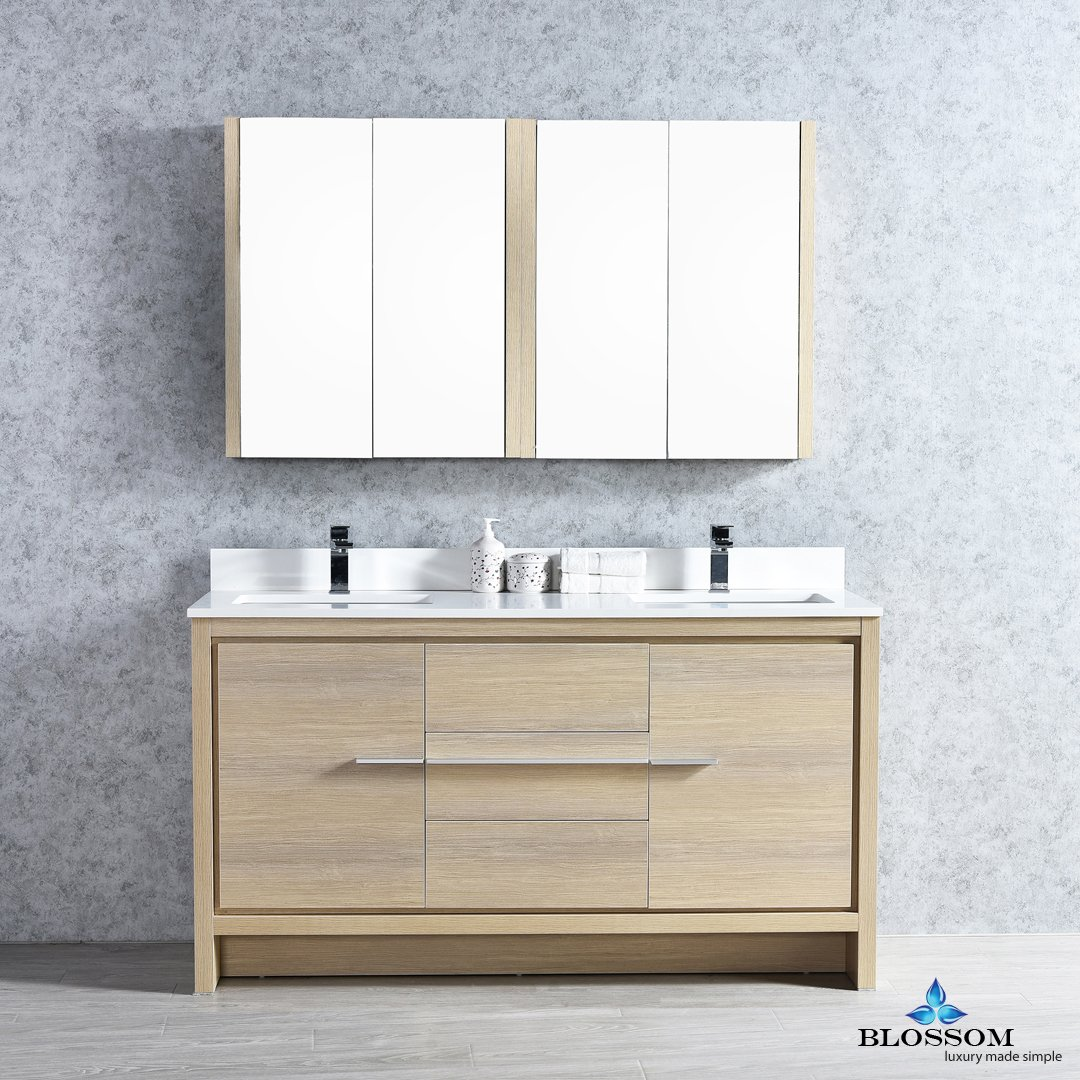 BLOSSOM 014-60-20-MC Milan 60'' Double Vanity Set with Medicine Cabinets Briccole Oak