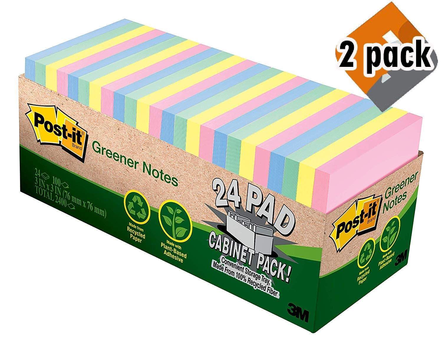 Post-it Greener Notes, Pastels, 100% Recycled Content, 3 in. x 3 in, 24 Pads/2 Pack, (654R-24CP-AP)