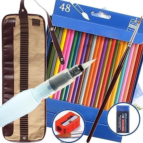 Watercolor Pencils Bonus Water Pen 48 Assorted Artist Grade High Quality Break Resistant