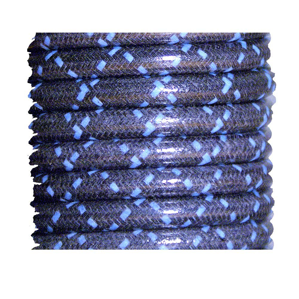 Cloth Braided Spark Plug Wire Black with Blue Tracers 25 Feet