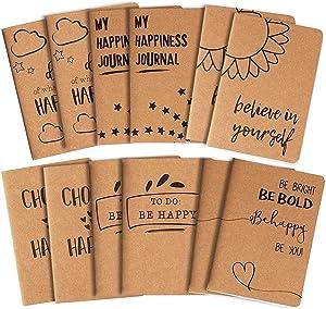 12 Pack Kraft Paper Notebook, Happy Journal (4 x 5.75 in.)