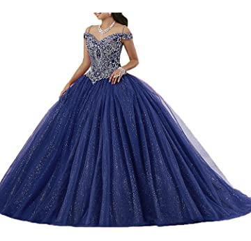 87d2e151922 Graceprom Women s Puffy Beaded Crystal Quinceanera Dresses Ball Gown Sweet  16 Dresses