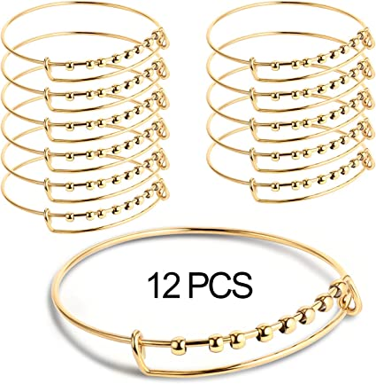 Double T Bangle Bracelet Stainless Steel with Charm.