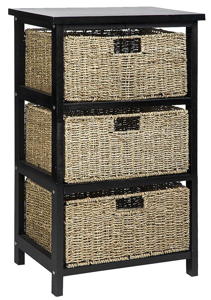 Merax 4 Drawers Compact Wicker Basket Storage Shelf 100% Natural Wood Basket Storage Tower, Black (3 Drawer)