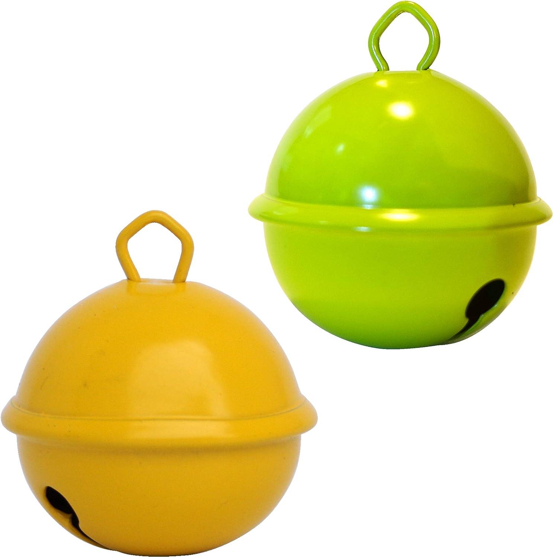 Cascabeles Gigantes Amarillo + limo Verde (35mm x2 Campanillas de Bronce Musicales Sonoros) - 16 Colores MUSIKID (Bebe Niños) Para Manualidades ...