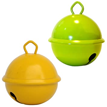 Cascabeles 35 mm gigantes manualidades 1 amarillo + 1 verde lima (X 2 cascabeles)