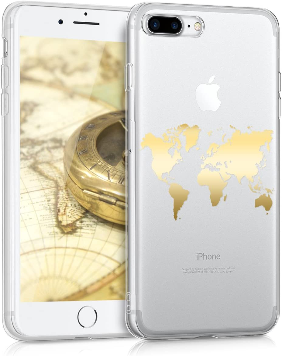 kwmobile TPU Case Compatible with Apple iPhone 7 Plus / 8 Plus - Soft Crystal Clear IMD Design Back Phone Cover - Travel Outline Gold/Transparent