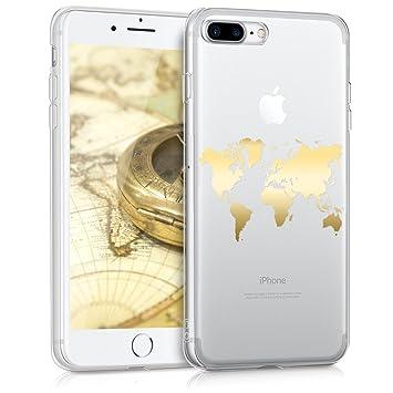 kwmobile Funda para Apple iPhone 7 Plus / 8 Plus - Carcasa protectora de TPU con diseño de mapa del mundo en dorado / transparente