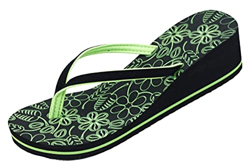623e08e1c5501 Best Green High Wedge Flip Flop Sandal Fun Cute Colorful Floral Platform  Heel Open Toe Comfortable