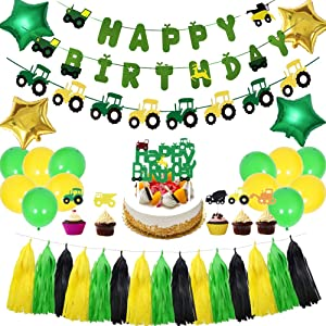 LOCCA Farm Tractor Theme Party Decorations Set, Tractor Party Supplies for Kids/Boys/Girls Birthday/Baby Shower, Includes Tractor Birthday Banner, Tractor Garland, Cake Topper, Balloons, Tassels