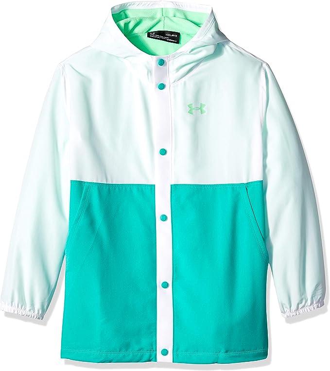 Under Armour Girls Phenom Jacket, White (101)/Green Typhoon, Youth Large