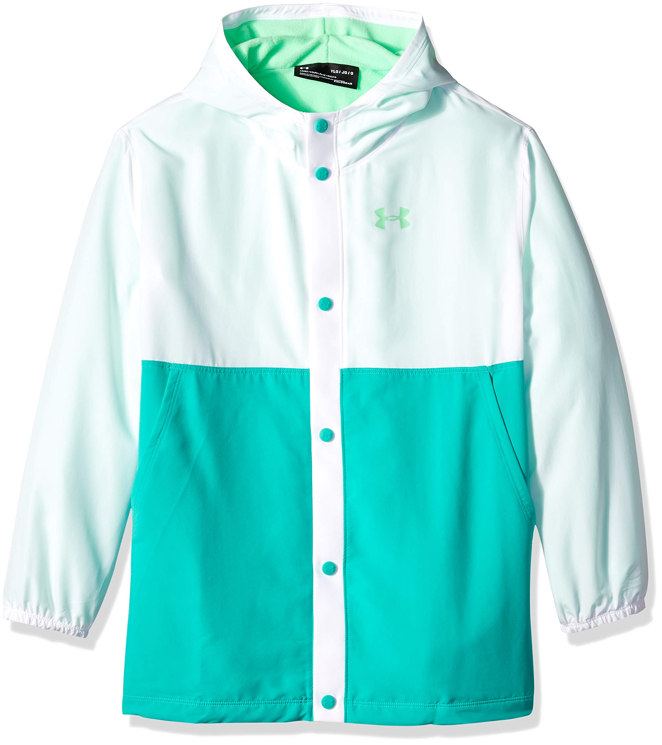 Under Armour Girls Phenom Jacket, White (101)/Green Typhoon, Youth Small