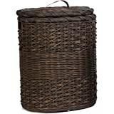 The Basket Lady Oval Wicker Laundry Hamper | Clothes Hamper, XL, Antique Walnut Brown