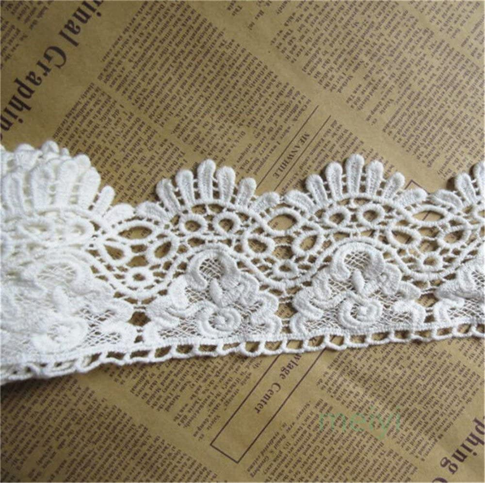 3-1/2 Inches Wide in Off White Black Europe Crown Pattern Cotton Floral Embroidered Eyelet Lace Trim Ribbon for Garment Home Decor DIY Craft Supply by 3 Yard(Off-White/Ivory)