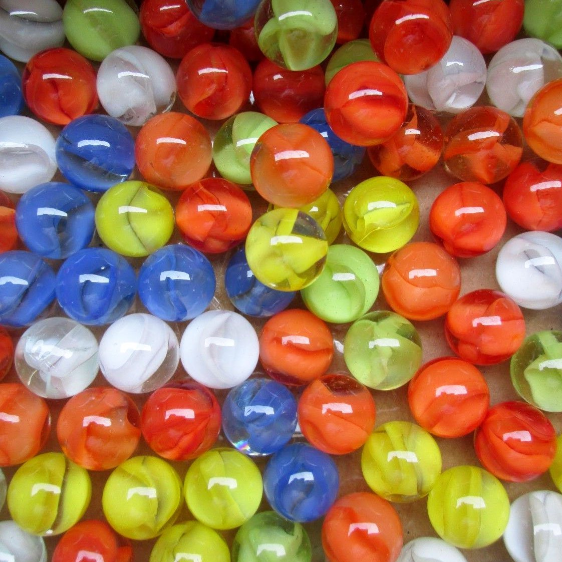 """Unique & Custom {9/16'' Inch} Approx 2 Pound Set of Small """"Round"""" Clear Marbles Made of Glass for Filling Vases, Games & Decor w/ Classic Nostalgic Cats Eye Design [Orange, Blue, Yellow, White & Green]"""