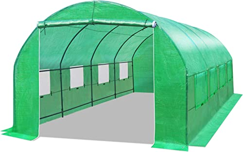 BenefitUSA Multiple Size Large Greenhouse Walk in Outdoor Plant Gardening Hot Greenhouse 20X10X7 FT