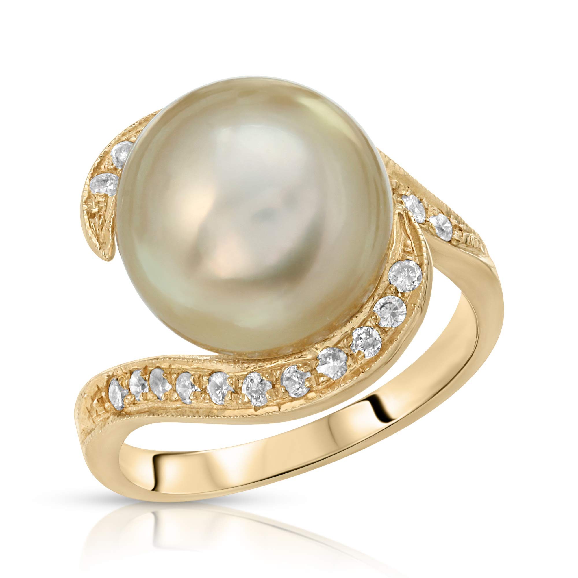 14K Yellow Gold South Sea Cultured Pearl Ring with White Diamonds (8, Golden South Sea Pearl)