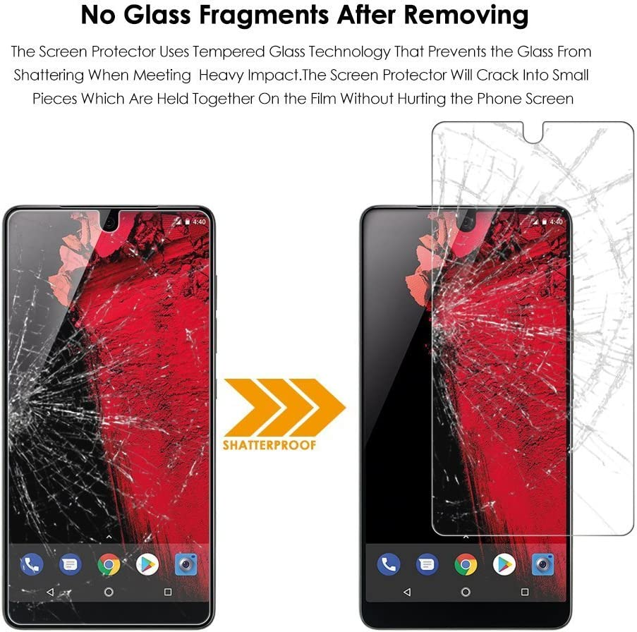 2 Pack Premium Tempered Glass Screen Protector for Essential Phone Anti-Glare Essential Phone Screen Protector,ELECNEWELL Anti-Fingerprint
