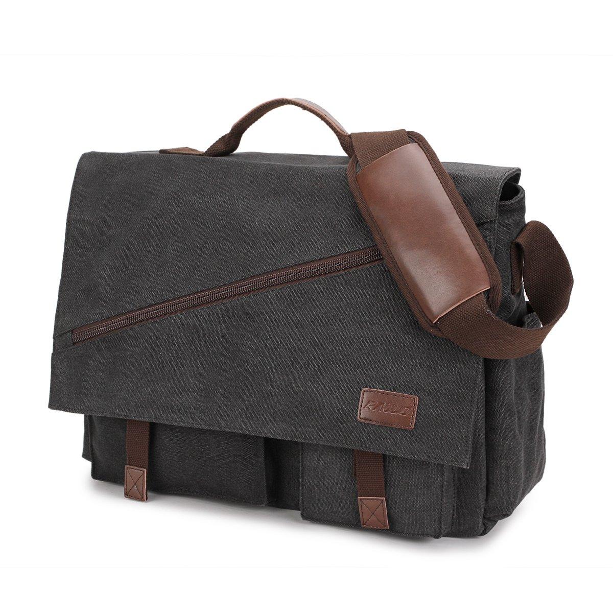 Mens Messenger Bag,17.3 Inch Water Resistant Canvas Satchel Large Black Vintage Shoulder Business Briefcase Bookbag by RAVUO by RAVUO