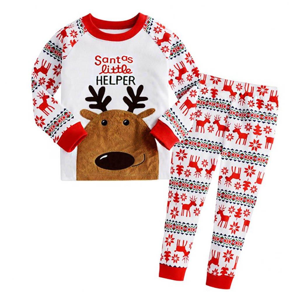Qjoy Baby Boys Girls Reindeer Pajamas Sleepwear Set Kids Home Nightwear Pyjama Suit