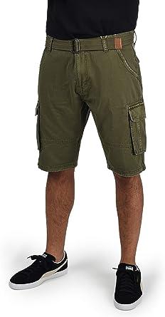 Indicode Costa Pantalón Cargo Bermudas Pantalones Cortos para Hombres con Cinturón de 100% Algodón Regular-Fit: Amazon.es: Ropa y accesorios