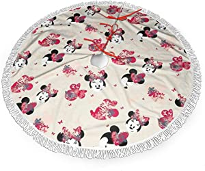 MERRYCHRIS Cartoon Mickey Mouse Christmas Tree Skirt Decorations Tassel Snowman Xmas Party Holiday New Year Christmas Ornaments Fringed Lace 48 Inch