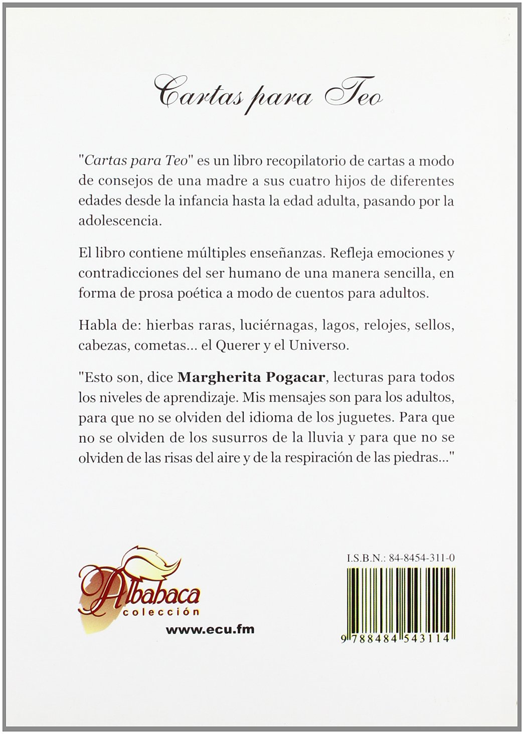 Cartas para Teo: Marguerita Pogacar Baldassini: 9788484543114: Amazon.com: Books