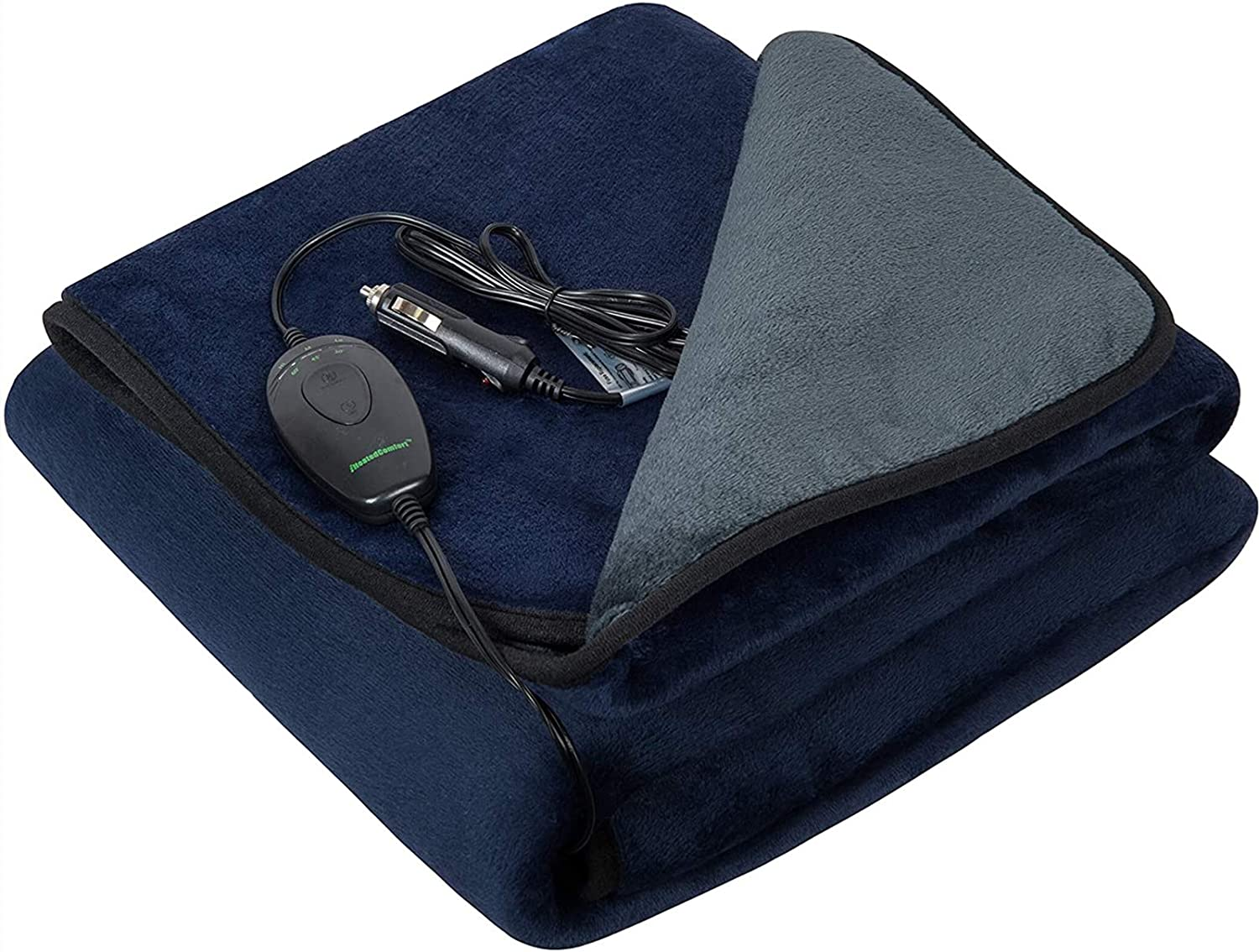 Navy Blue and Grey 55.1x39.4 iHealthComfort 12Volt Washable Electric Heated Travel Blanket with Intelligent Hi//M//Lo Temp 30//45//60 mins Auto-Off Timer Multi-Functional Controller