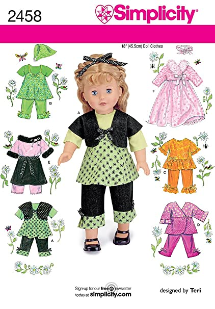 Amazon.com: Simplicity Sewing Pattern 2458 Doll Clothes, One Size ...