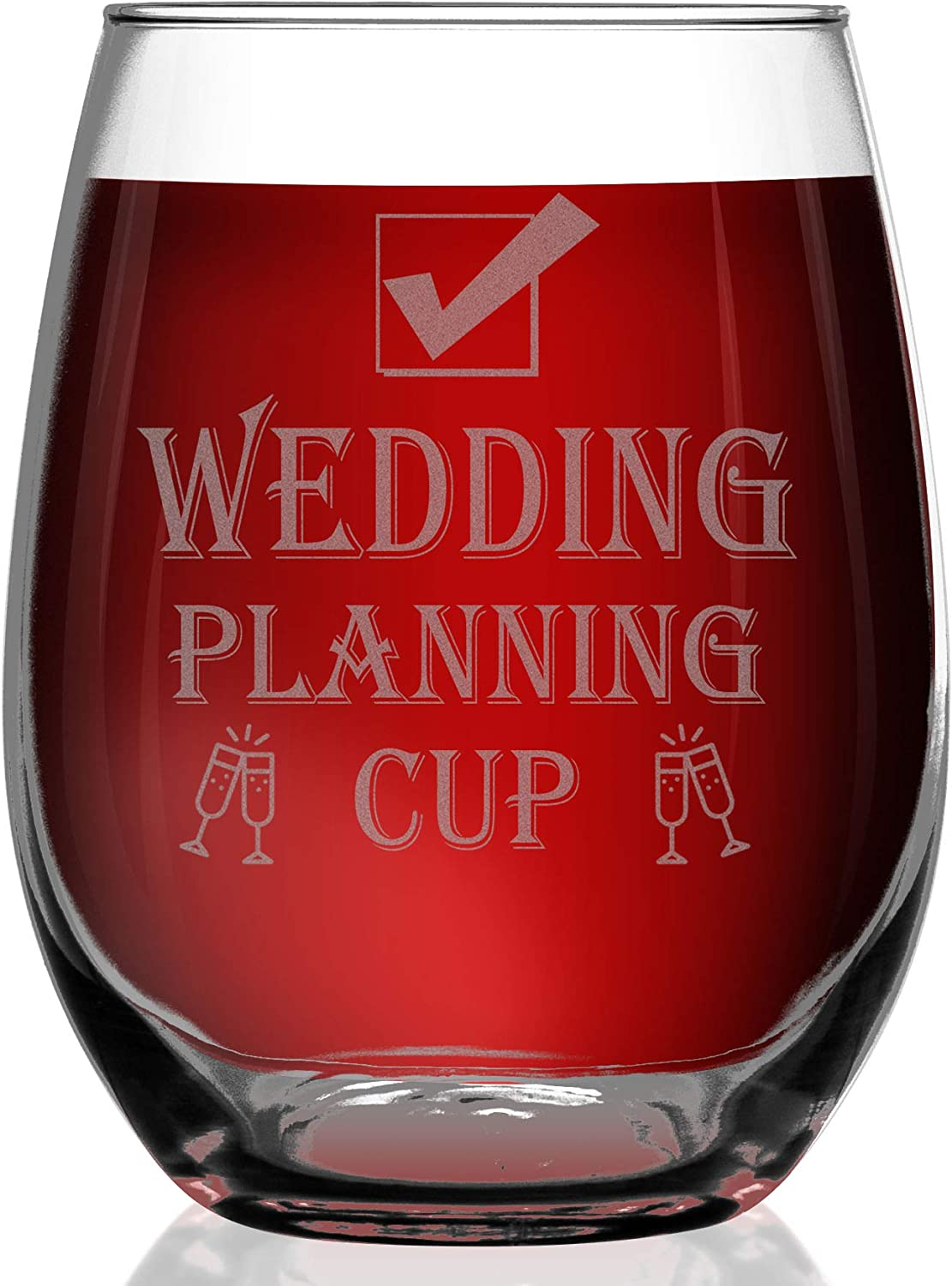 Wedding Planning Wine Glass Engagement Gifts For Her Stemless Fun Gift For The Bride 21oz