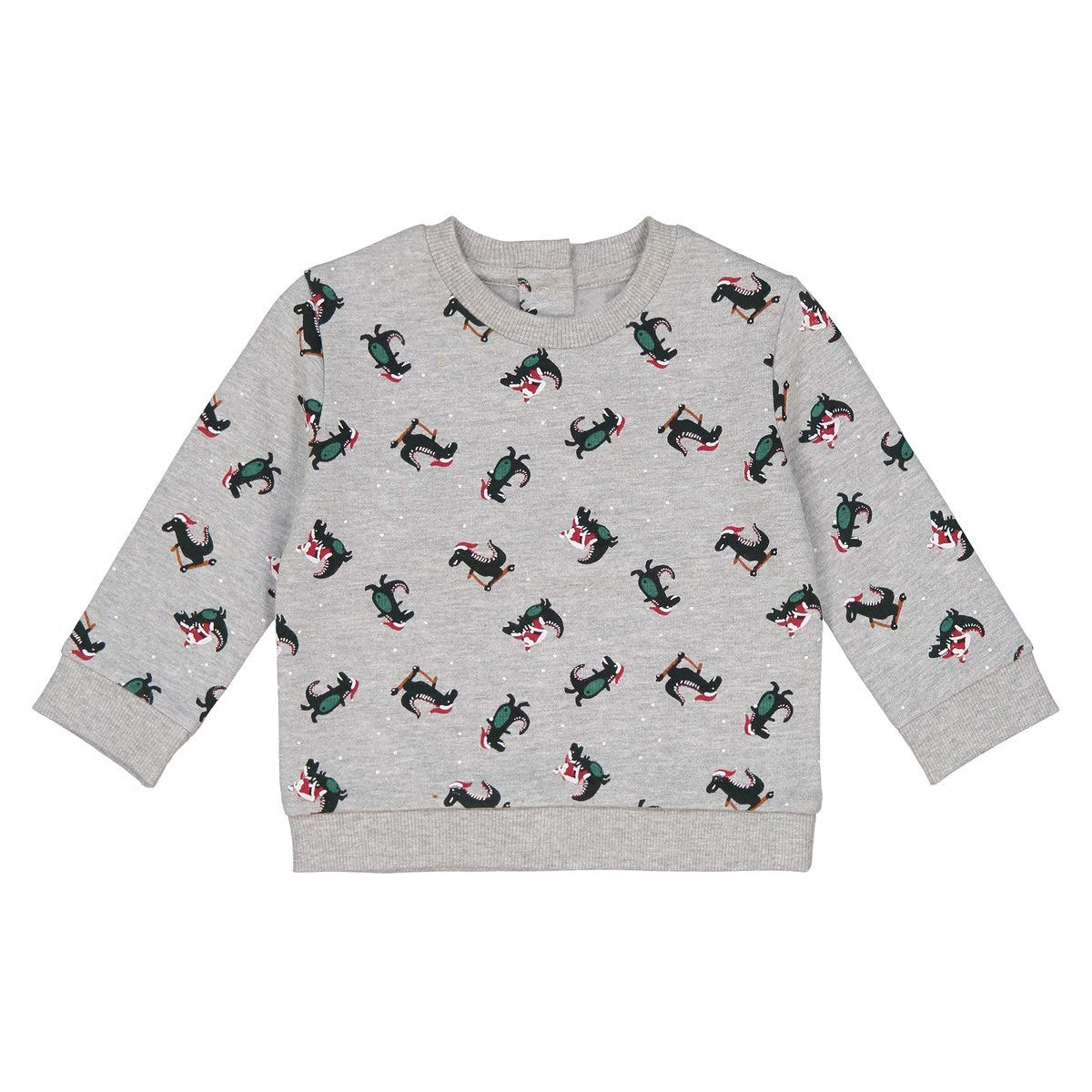 La Redoute Collections Christmas Dinosaur Print Sweatshirt 1 Month-3 Years