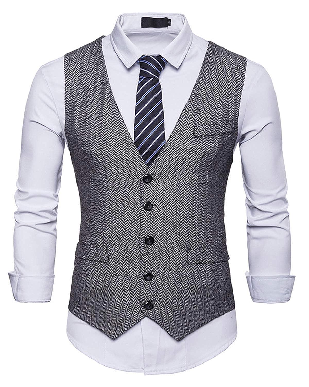 JOLIME Panciotto Gilet Uomo Tweed Vintage Slim Fit Giacca Blazer Smanicato Casual Cerimonia Matrimonio JM070103