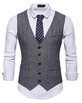 look for exclusive shoes speical offer JOLIME Gilet Costume sans Manches Homme Vintage Tweed Slim Fit Casual  Business Mariage