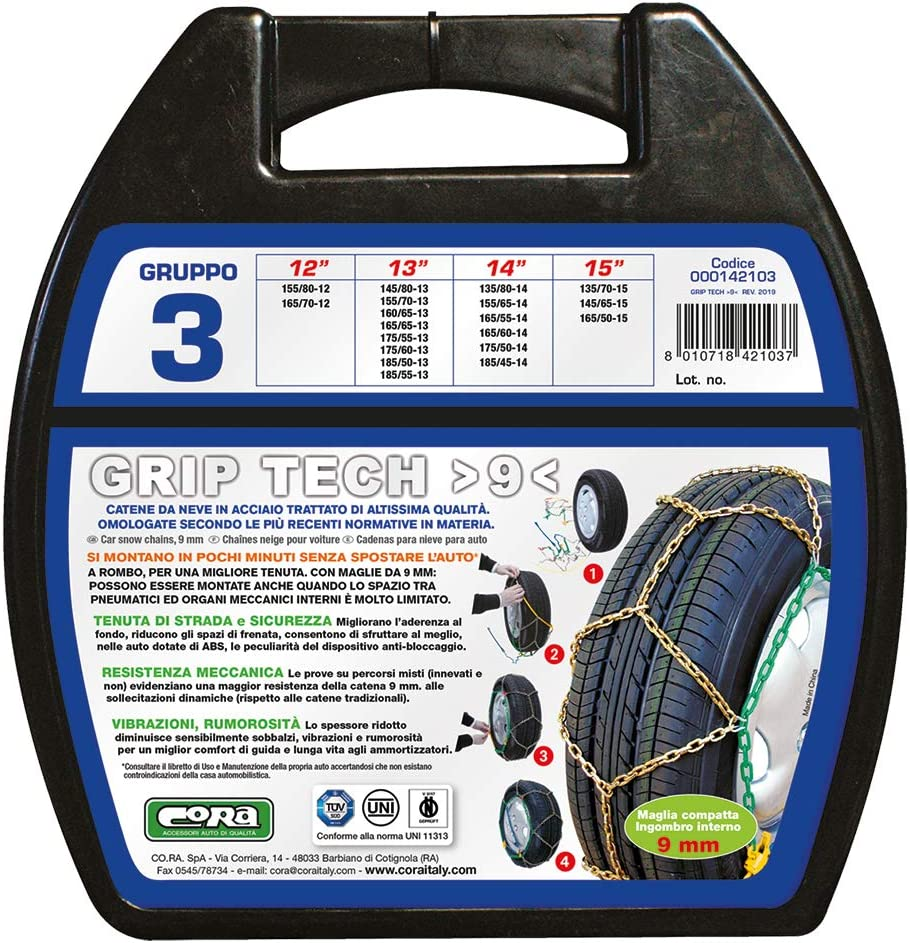 9/mm Cora 000142103/Snow Chains for Car Grip Tech Set of 2 Group 3