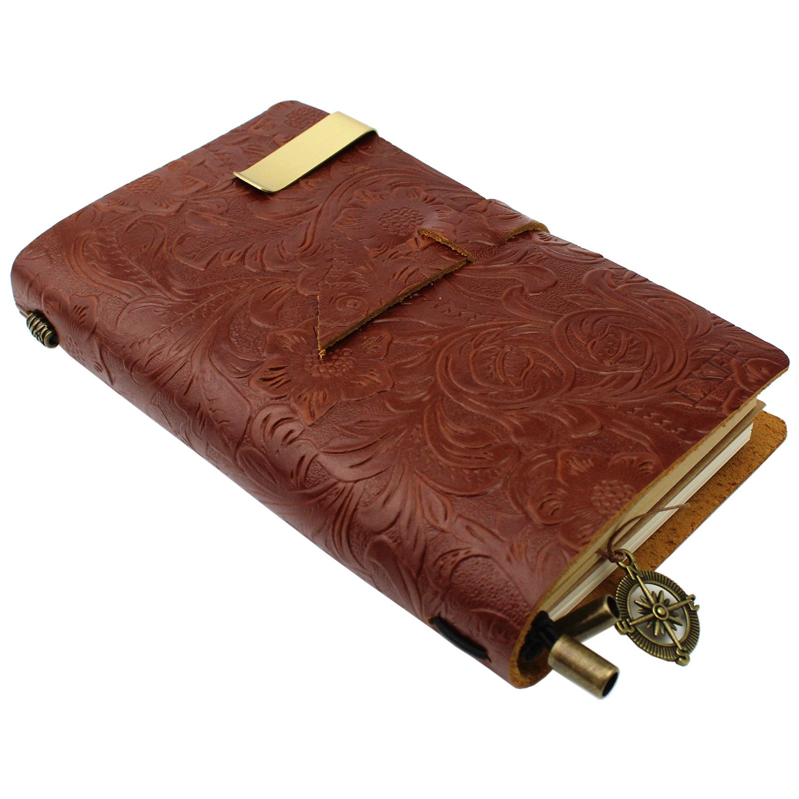 LXFF Handmade Leather Journal Notebook Diary Refillable Notebooks (180 Pages) - 7 x 4.4 Inches - Perfect Gift for Women Brown Flower Embossed