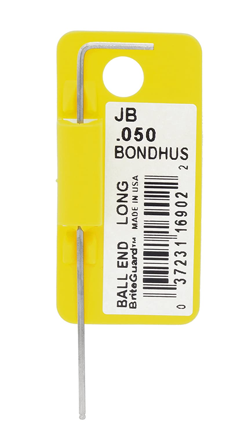 Tagged and Barcoded Bondhus 16902 .050 Ball End Tip Hex Key L-Wrench with BriteGuard Finish Long Arm