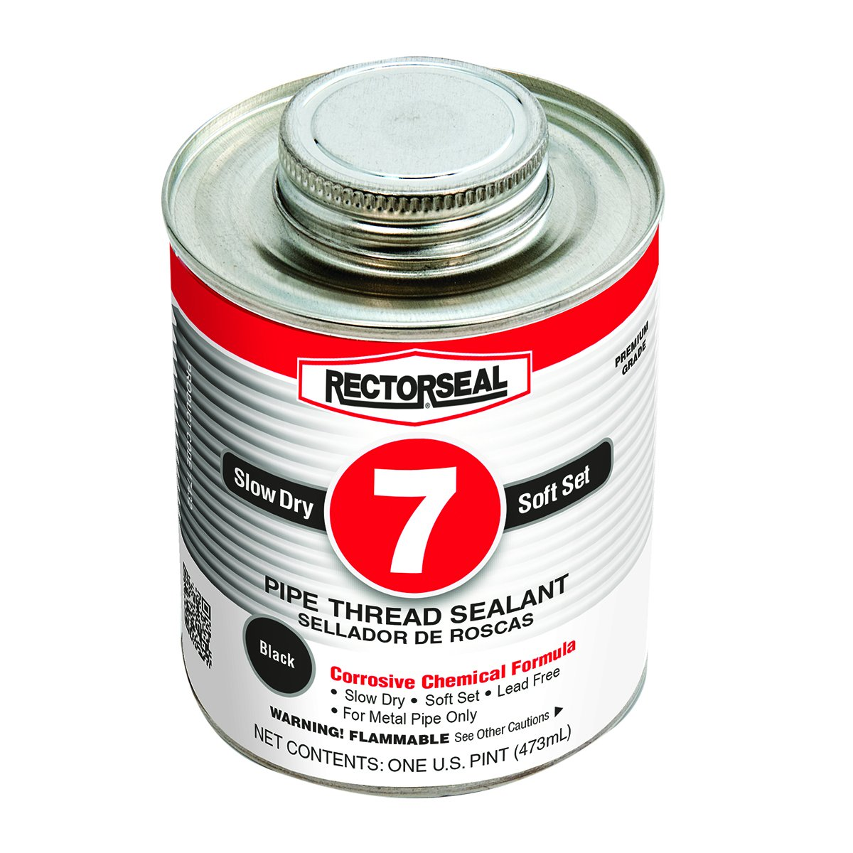 Rectorseal 17432 No. 7 Pipe Thread Sealant, 1 Pint Brush Top Can, Black