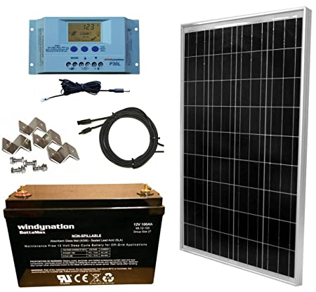 WindyNation 100 Watt Solar Panel Complete Off-Grid RV Boat Kit with P30L LCD PWM Charge Controller, Solar Cable, MC4 Connectors, Mounting Brackets 100Ah AGM Deep Cycle Battery