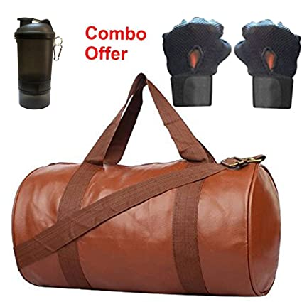SKYSONS Gym Bag Combo Set Enclosed With Soft Leather Gym Bag For Men and  Women For Fitness - Bag Size 49cm x 24cm x 24cm - Brown Color 4c1b4e29c78d4